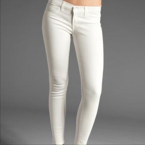 """J Brand White """"White Out"""" Coated Skinny Jeans"""